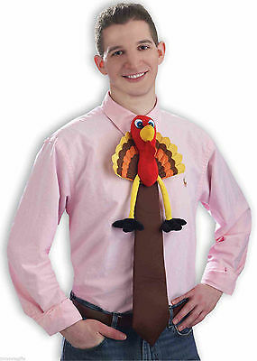 Funny LONG PLUSH TURKEY NECK TIE Thanksgiving Costume Adult Chef Bird Joke Gag
