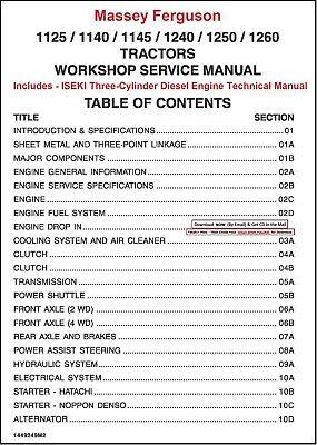 Massey Ferguson 1125 1140 1145 1240 1250 1260 Tractor Technical Manual