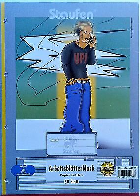 Arbeitsblätterblock 2-er-Set Staufen DIN A4 Lin.1 Kl. Block Farbig hinterl.50 Bl