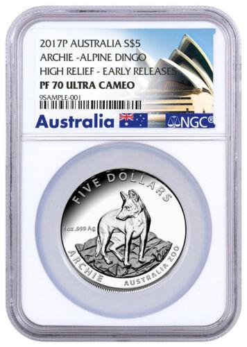 2017 Australia Zoo Archie Alpine Dingo HR 1 oz Silver $5 NGC PF70 Early Releases