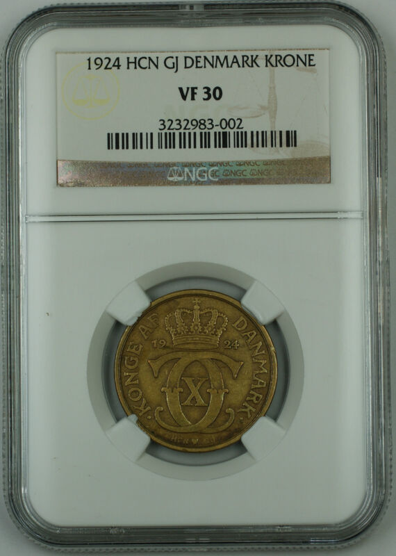 1924 *Rare Date* HCN GJ Denmark 1 Krone Coin, NGC VF-30