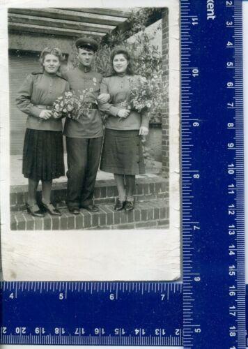 1945 WW Military Vintage Photo Women girl USSR uniform long hair holiday flowers