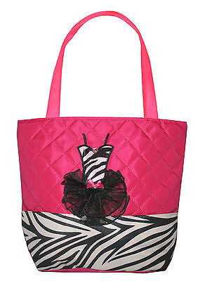 Girls Hot Pink & Black Quilted Zebra Tutu Dance Tote Bag New