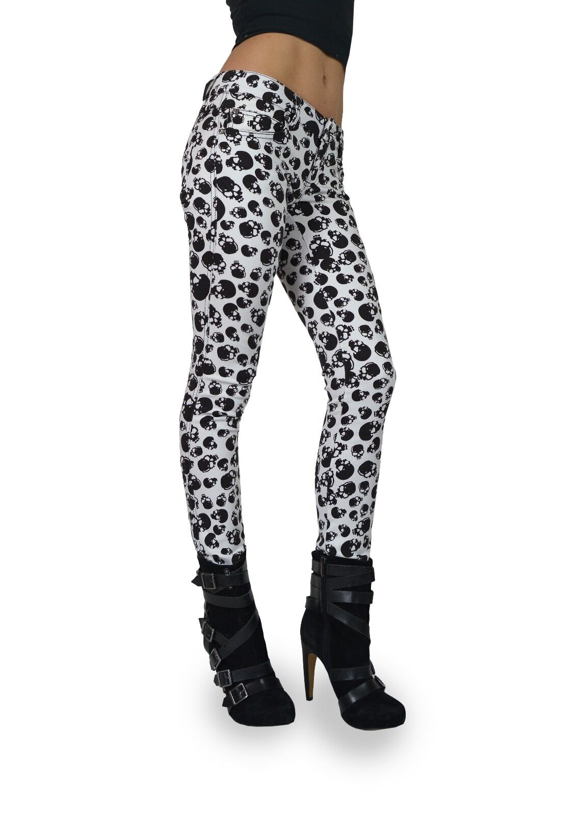 TRIPP EMO GOTH PUNK ROCK STAR WHITE PARTY SKULL T- JEANS PANTS SKINNY IS6235P Clothing, Shoes & Accessories