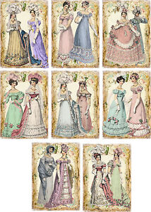 Vintage-inspired-regency-Jane-Austen-friends-cards-tags-ATC-altered-art-set-of-8