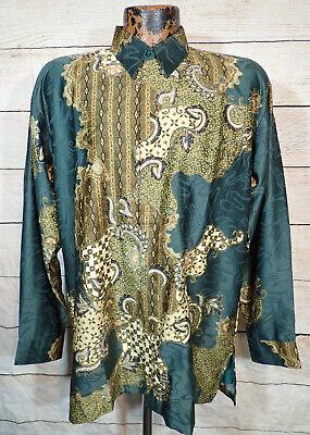 vtg BATIK Kencana Ungu Silk? Wax Process Men's Indonesian Art Print Shirt sz L