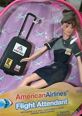 """Flight Attendant Doll American Airlines 11"""" Brunette w/ Backpack & Accessories"""