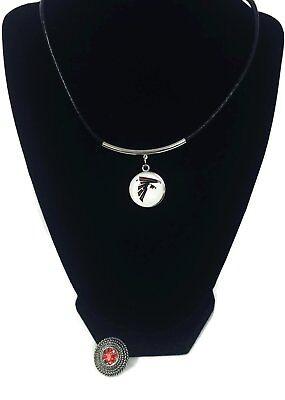 Falcon Logo Charm - NFL Fashion Snap Jewelry Atlanta Falcons Logo Necklace Set With 2 Charms For Foo