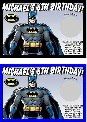 BATMAN PERSONALIZED SCRATCH OFFS PARTY GAMES GAME CARDS BIRTHDAY PARTY FAVORS