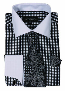 Men's Checker Design French Cuff Dress Shirt + Tie and Hanky Set