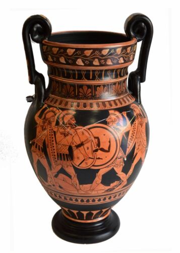 Achilles Hector Menelaos Paris -Trojan War Theme - Red Figure Volute Krater Vase