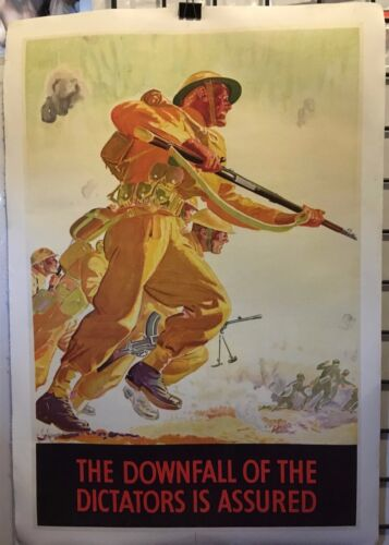 """WW2 The Downfall of the Dictators Assured 20x30"""" linenbacked"""