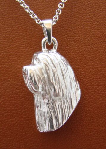 Sterling Silver Bearded Collie Head Study Pendant