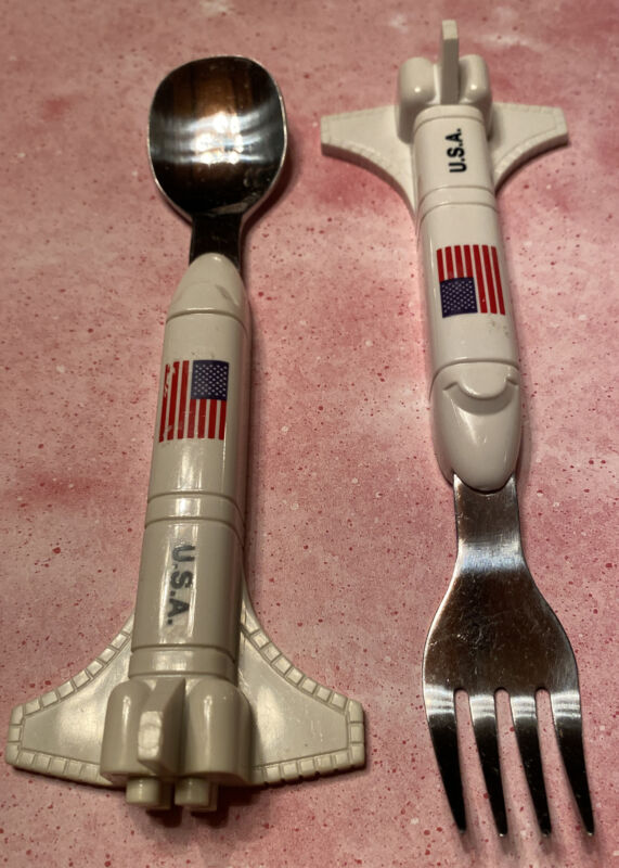 Space Shuttle Spoon and Fork Set Smithsonian Toddlers Kids Cutlery