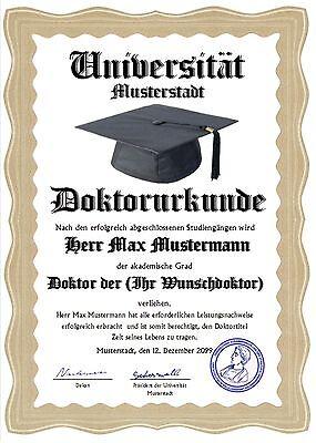 Doktortitel Diplom Zertifikat Urkunde Berufsdiplom Titel personalisiert.  UK-299