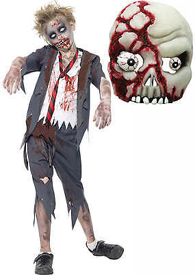 Zombie Dead School Boy Monster Kids Childs Halloween Fancy Dress Costume + MASK