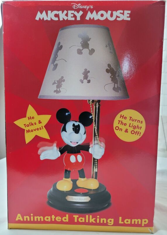 """Mickey Mouse animated Talking Lamp  Vintage Disney 15"""" With Shade & Box New"""