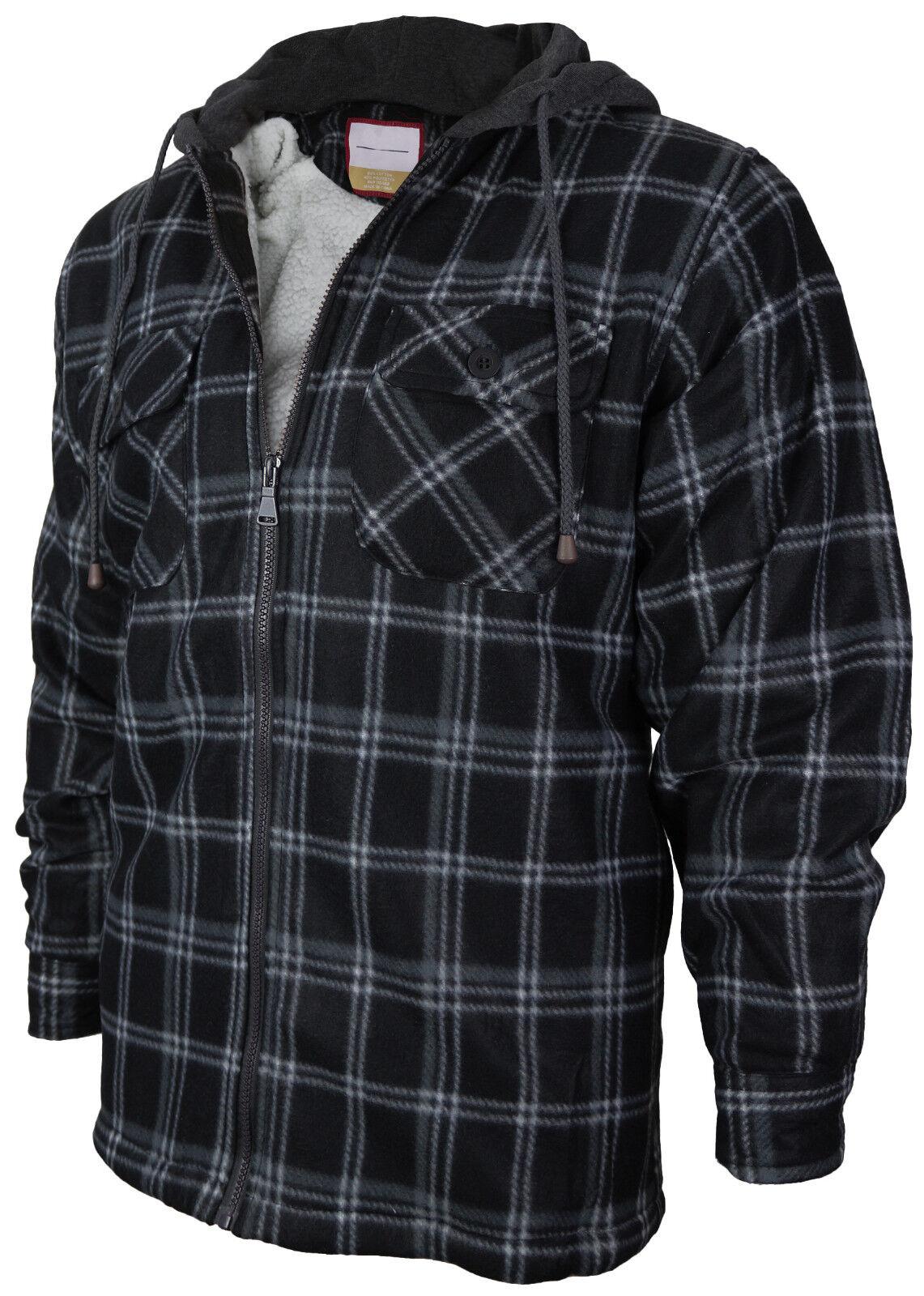 Men's Heavy Fleece Lined Sherpa Hoodie Plaid Flannel Jacket With Hood E03 - Charcoal Grey White