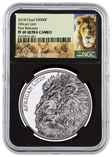 2018 Republic Chad African Lion 1 oz Silver 5,000F NGC PF69 UC FR Black SKU52892