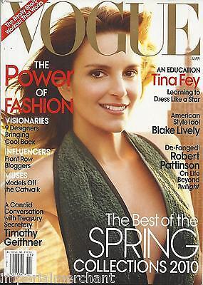 Vogue magazine Tina Fey Blake Lively Robert Pattinson Power of fashion issue