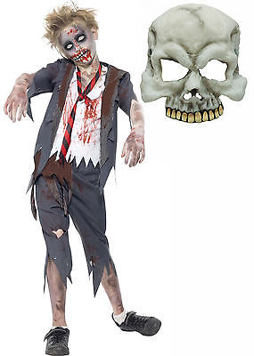 Zombie Monster Scary School Boy Kids Childs Halloween Fancy Dress Costume + MASK