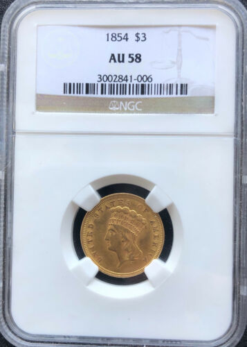1854 Gold $3 Indian Princess Head. NGC AU58. Great Luster, mark free surface.