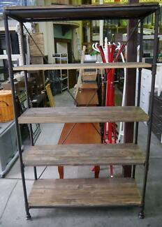 New Rustic Industrial Timber Metal Bookcase Display Shelving Unit