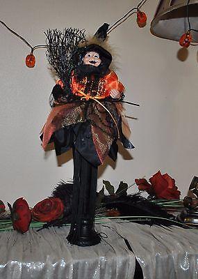 NEW CUTE WITCH doll Halloween Tassel DRESS BLACK Orange Boa Broom Standing - Cute Doll Halloween