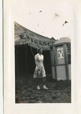 1940 EK Fernandez Circus Hawaii  Photo  Betty at Tent Entrance, ticket booth