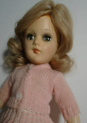 "Vintage 1950s 14"" Hard Plastic Mary Hoyer Doll Wearing Knit Outfit"
