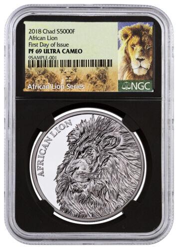 2018 Republic Chad African Lion 1 oz Silver 5,000F NGC PF69 UC FDI Blk SKU51661