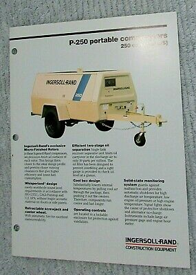 Vintage 1989 Ingersoll Rand Portable Air Compressor P-250 1 Pg Brochure Free Sh