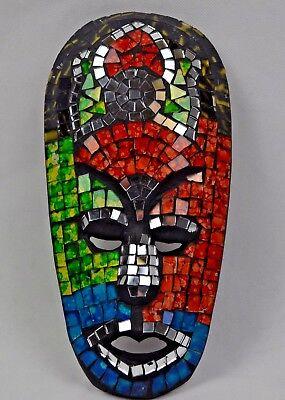 Bali Holz geschnitzt Spiegel Mosaik Wand Maske Wand Kunst/Dekoration Gartendeko (Afrikanische Wand-spiegel)