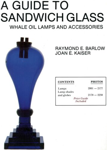 Antique Sandwich Glass Whale Oil Lamps Shades Globes / Illustrated Book + Values