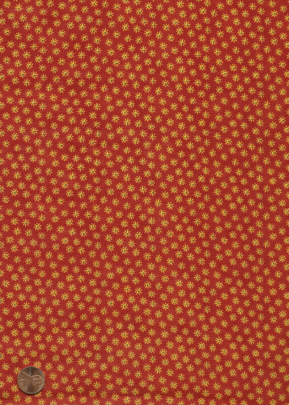 Antique 1870 Turkey Red Star Burst Fabric