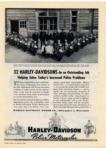 1946 Harley Davidson Police Motorcycles Ad: Bayonne, New Jersey Officers Picture