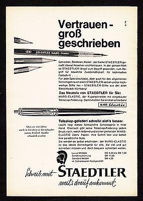 3w853/ Alte Reklame - von 1961 - Schreib mit STAEDTLER Mars-Elastic