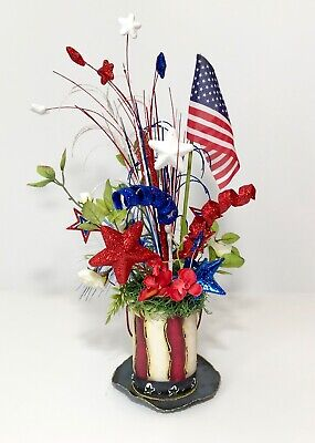 Fourth Of July Centerpieces (4TH OF JULY PATRIOTIC CENTERPIECE PARTY DECORATIONS TOP HAT AMERICAN FLAG)