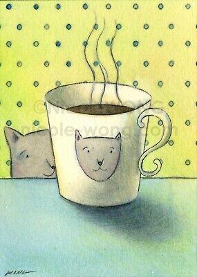 ACEO PRINT - MUG - pets, cats, cup, coffee, foodie, portrait, caffeine, cute