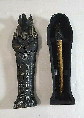 "Egyptian Collection 8"" Anubis Sarcophagus Letter Opener & Sheathe Set"