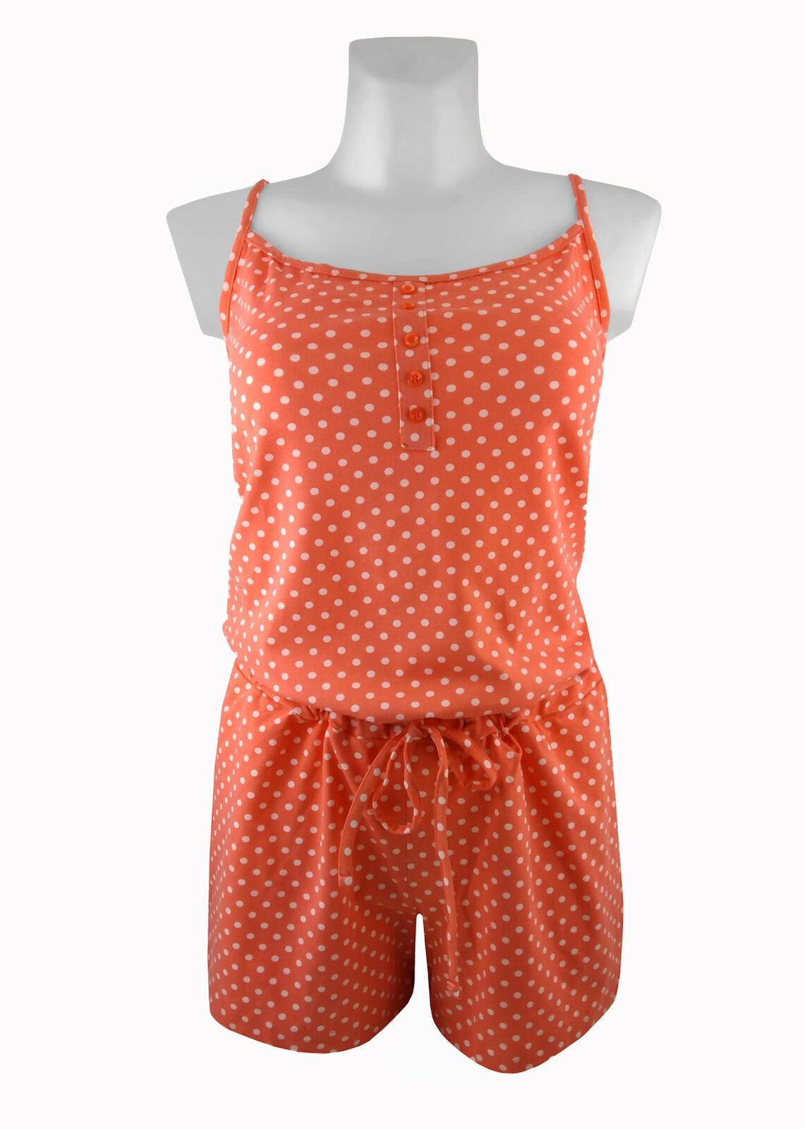 Tchibo TCM Damen Schlafanzug Kurz Jumpsuit Pyjama Overall Einteiler Nachtwäsche