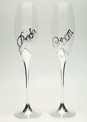 Set of 2 Champagne Toasting Wedding Bride Groom Flutes Reception Glasses  ()