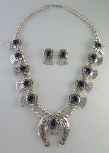 Navajo Marcella James Sterling Silver & Lapis Squash Blossom Necklace & Earrings