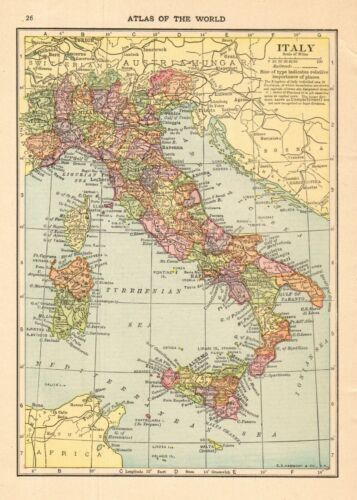 1910 Antique Map of Italy Vintage Italy Map Gallery Wall Art smap 8403