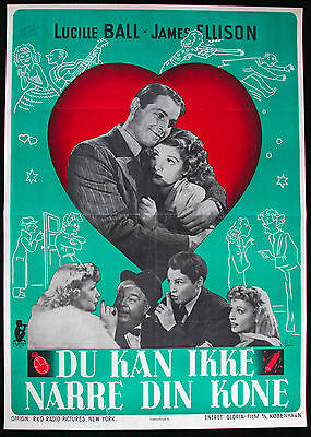 YOU CAN'T FOOL YOUR WIFE Rare Original 1945 Danish Movie Poster * LUCILLE BALL *