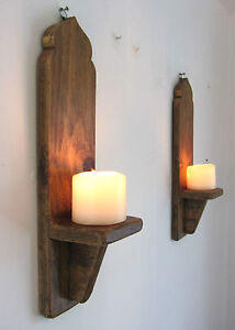 Pair of 40cm reclaimed wood moroccan dome wall sconce for Oxford turned wood candle holders