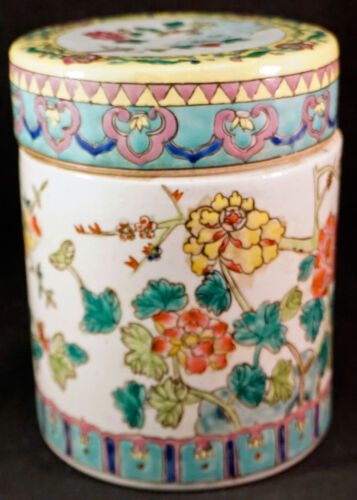 Antique Chinese Famille Rose Porcelain Lidded Tea Jar Caddy Qing Dynasty 2 of 2