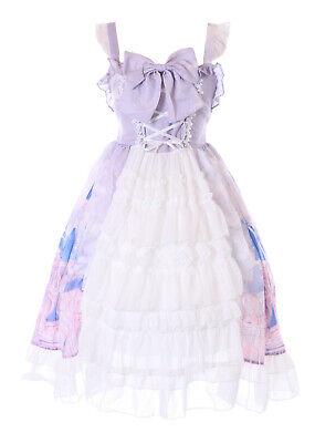 JSK-72-2 Púrpura Cuento Cierre Lazo Volantes Vestido Pastel Goth Lolita Cosplay