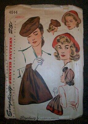 1940s Handbags and Purses History Simplicity Vintage 40s Pattern 4844 Hat & Bag Purse Set Film Noir Medium $19.95 AT vintagedancer.com