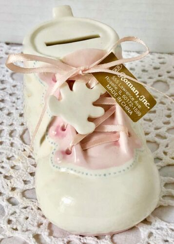 Ceramic Bank Baby Bootie Pink Laced Shoe Tiny Teddy Bear Fob New Old Stock